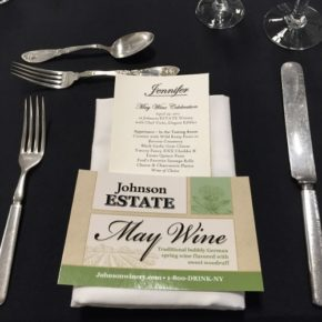 Table setting with wine pairing menu